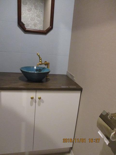 カクダイ手洗い+手作りキャビ